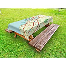 Ambesonne Map Outdoor Tablecloth, Vintage Map of San Francisco Bay Area with Red Pin City Travel Location, Decorative Washable Picnic Table Cloth, 58 X 104 Inches, Pale Blue Pale Green Red