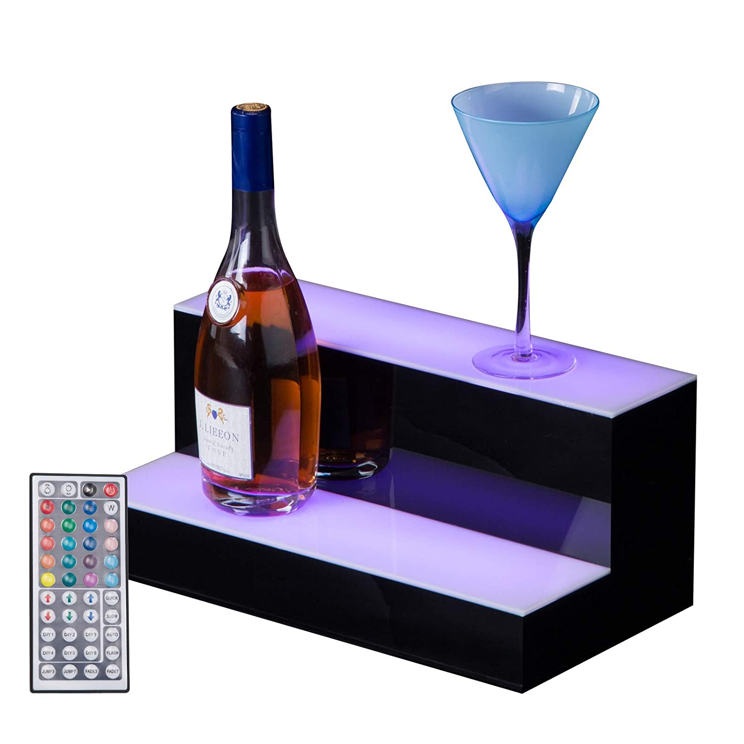 Amazon Com Suncoo Led Lighted Liquor Bottle Display 16 2 Step