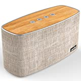 COMISO 30W Bluetooth Speakers with Super Bass, Bamboo Wood Home Speaker with Subwoofer, Up to 20 Hours Playtime