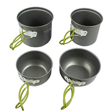 G4Free Outdoor Camping pan Hiking Cookware Backpacking Cooking Picnic Bowl Pot Pan Set 4/13 Piece Camping Cookware Mess Kit Knife Spoon