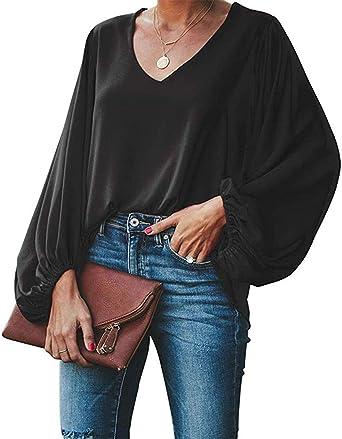 Style Dome Camisetas Mujer Manga Larga Blusa Casual Mujer Tops T-Shirt Cuello V Camisa Color Sólido Jumper Negro 2XL: Amazon.es: Ropa y accesorios