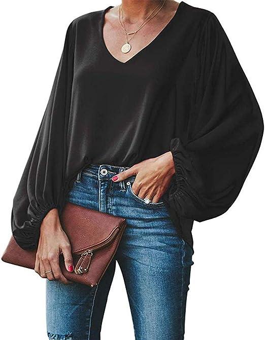Damen V-Ausschnitt Spitze Top Bell Ärmel Durchsichtig Spot T-shirt Langarm Bluse