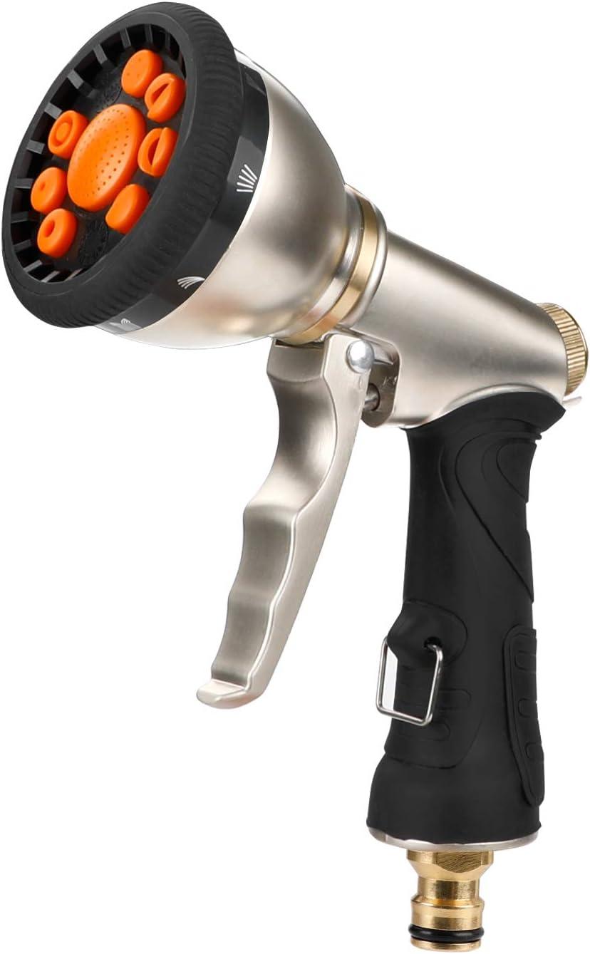 Denavo - Pistola pulverizadora de Metal para Manguera de jardín, 9 Patrones Ajustables, Boquilla de pulverización de Alta presión Resistente, Lavado de Coche, Limpieza, riego de césped y jardín