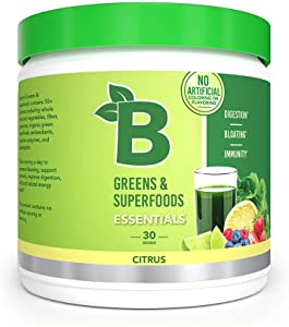 Bloom Nutrition Green Superfood | Best Tasting Greens Powder | Complete Whole Foods (Organic Spirulina, Chlorella, Wheat Grass), Probiotics, Digestive Enzymes, Antioxidants, & Adaptogens (Citrus)