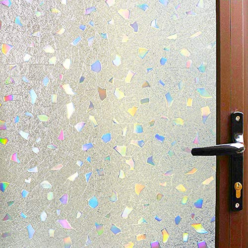 AILIYA Window Film Privacy 3D Color Gems, Frosted Static Cling Opaque Glass Film, Decorative Door Contact Paper, Light Heat Blocking Thicken Window Sticker, 1 Roll, 17-3/4 by 78-3/4 inches
