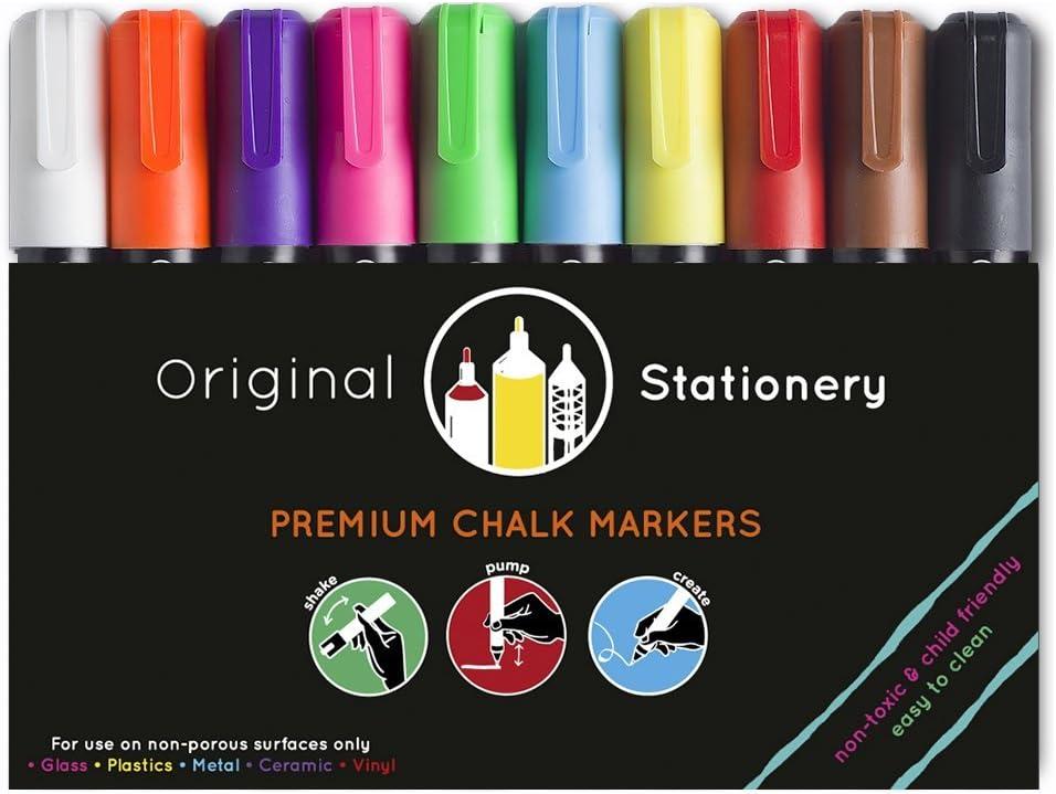 Original Stationery Marcadores de tiza líquida- Rotuladores Tizas Para vidrio, plástico, pizarra - No tóxico y fácil de limpiar - 10 colores - Material escolar: Amazon.es: Hogar