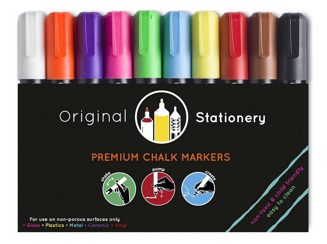 Marcadores de tiza - Para vidrio, plástico, pizarra - No tóxico y fácil de limpiar - 10 colores