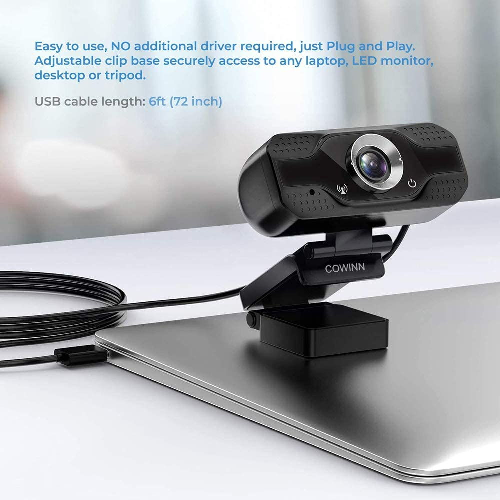 mit 78/° Blickfeld Clip Hangouts PC Laptop Desktop Tablets USB 2.0 Streaming Web Camera f/ür Skype,Zoom,FaceTime COWINN Webcam 1080P Full HD Computer Kamera mit Mikrofon etc