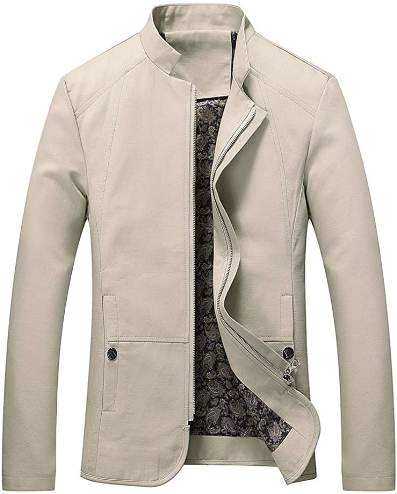 Sumen Men Autumn Winter Clothing Zip Front Stand Collar Casual Jacket Coat