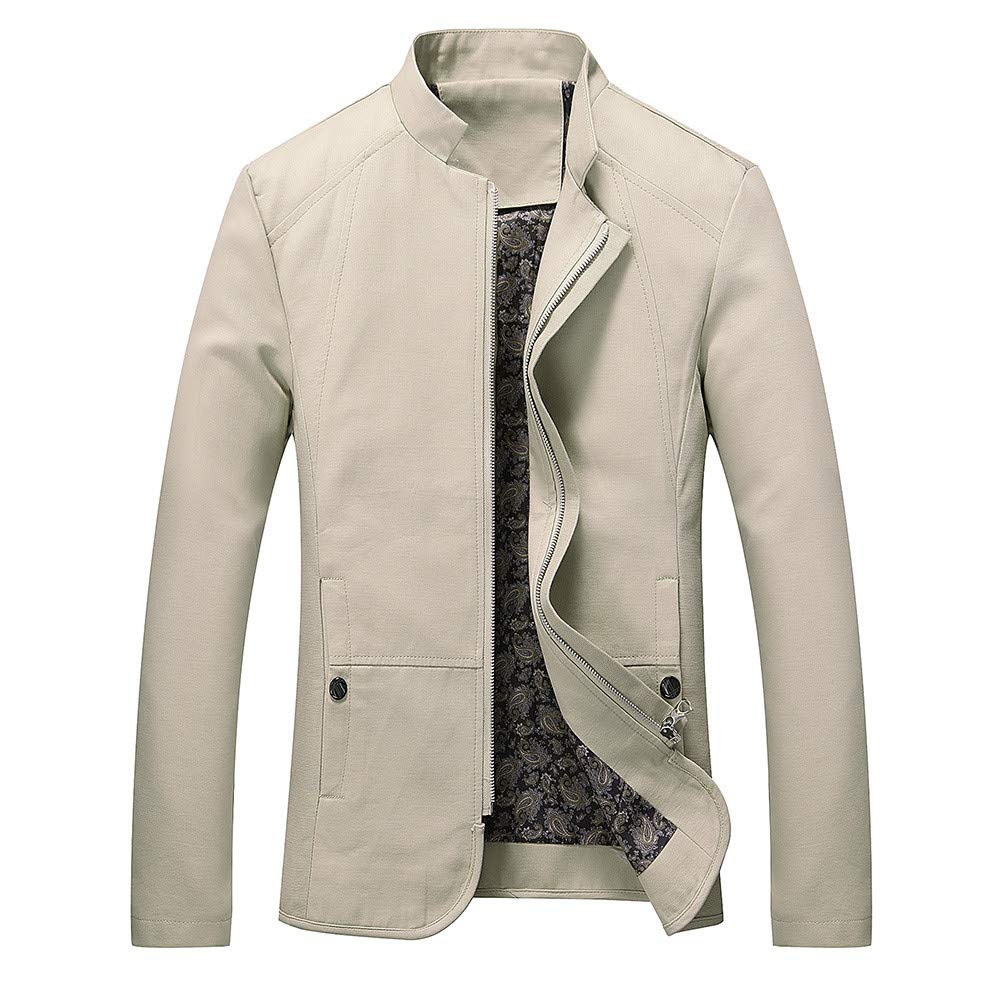 GREFER Men's Autumn Winter Casual Long Sleeve Solid Stand Zipper Jacket Top T Shirt Beige