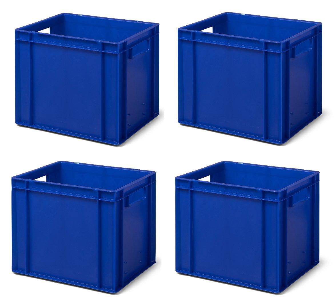 4 Stk. Transport-Stapelkasten TK432-0, blau, 400x300x320 mm (LxBxH), aus PP, Volumen: 29 Liter, Traglast: 45 kg, lebensmittelecht, made in Germany, Industriequalität