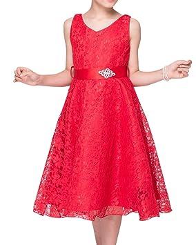 Vestidos de Princesa Boda Fiesta Vestidos Elegantes Brillantes de Encaje Floreado para Niñas Rojo 110CM