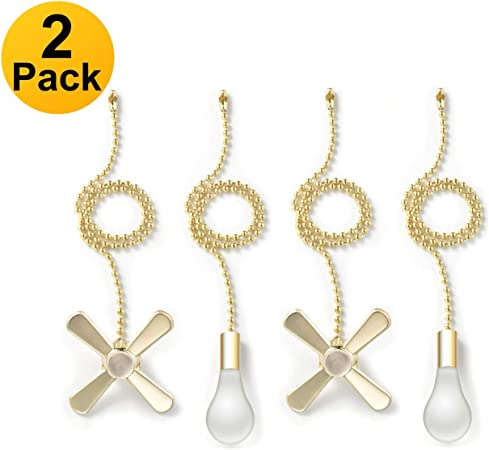 2 Pack, Nickel Pull Chain Extension 13.6 Inches Fan Pulls Set with Connector
