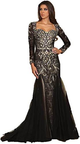 Royal Queen RQ7210 Women's Formal Long Sleeve Stretchy Evening Gown, Black