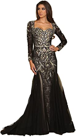 34d884758a7f Royal Queen RQ7210 Women's Formal Long Sleeve Stretchy Evening Gown, ...