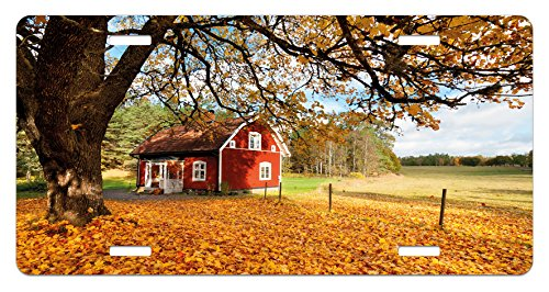 Fall License Plate by Ambesonne, Quaint Traditional Red Swedish House Tranquil Environment Cottage Countryside Woods, High Gloss Aluminum Novelty Plate, 5.88 L X 11.88 W Inches, Multicolor Quaint Cottage