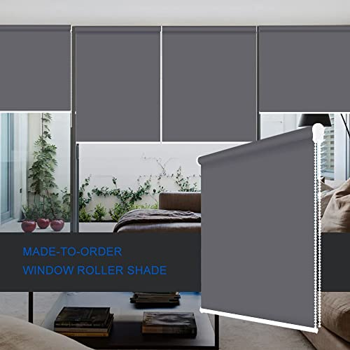 ZY Blinds Blackout Roller Shades Custom Made Any Size from 20-78inch Wide UV Protection Enery Saving Block 100 Light Window Shades Blinds for Home, Hotel, Club, Restaurant 21 W x 84 L, Dark Grey