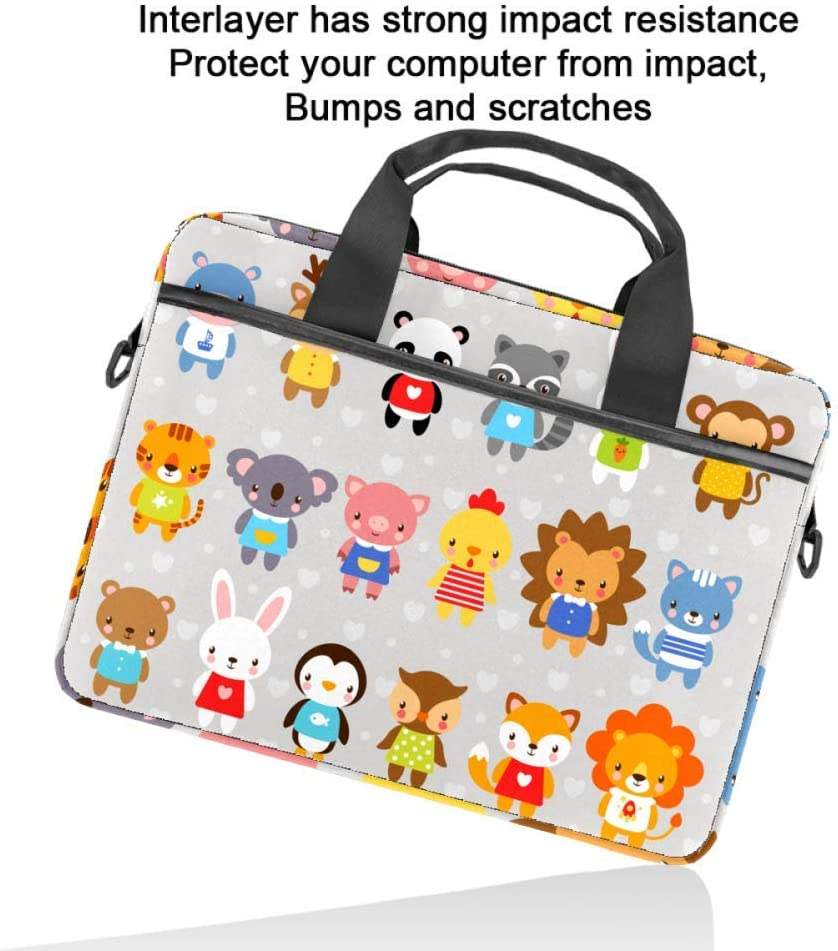 Cute Animals Laptop Bag Messenger Bag Slim Briefcase with Crossbody Shoulder Bag Computer Bag Computer and Tablet Carrying Case for 13.4-14.5In
