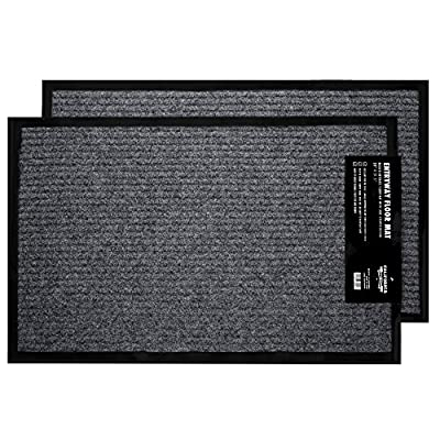 "2-Pack Indoor Outdoor Floor Mats for Entryway, 17"" x 29.5"" Outdoor Indoor Doormat, Grey Floor Mats, Entrance Door Mat with Rubber Backing, Large Ribbed Front Door Rug, Non-Slip Rubber Grip Clean Mat"