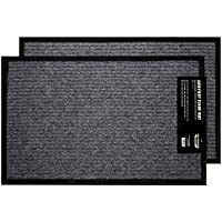 """California Home Goods 2-Pack Ribbed Indoor Outdoor Rug for Entrance, Door Floormat with Shoe Scraper & Rubber Backing, Entry Way Rug for High Traffic Areas, 17"""" x 29.5"""", Grey & Black"""