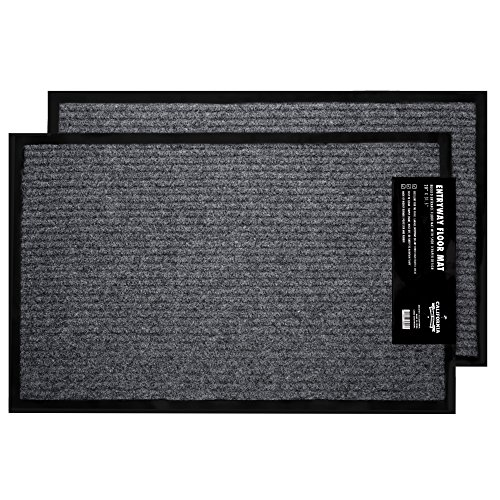 "2 Pack - Ribbed Indoor Outdoor Rug for Entrance, Door Floormat with Shoe Scraper & Rubber Backing, Entry Way Rug for High Traffic Areas, 17.5"" x 29.5"", Grey & Black by California Home Goods"