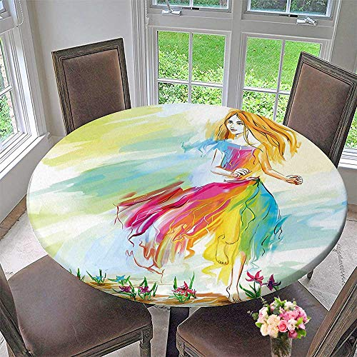 Mikihome Modern Table Cloth Barefoot Woman in Chiffon Dress Runs on Field Flower Indoor or Outdoor Parties 47.5