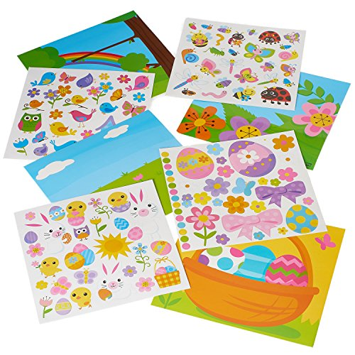 Prextex Easter eggs Reusable Sticker Set with Easter eggs Activity Board to Design the Scene- 4 Pack Repositionable Easter Sticker Set