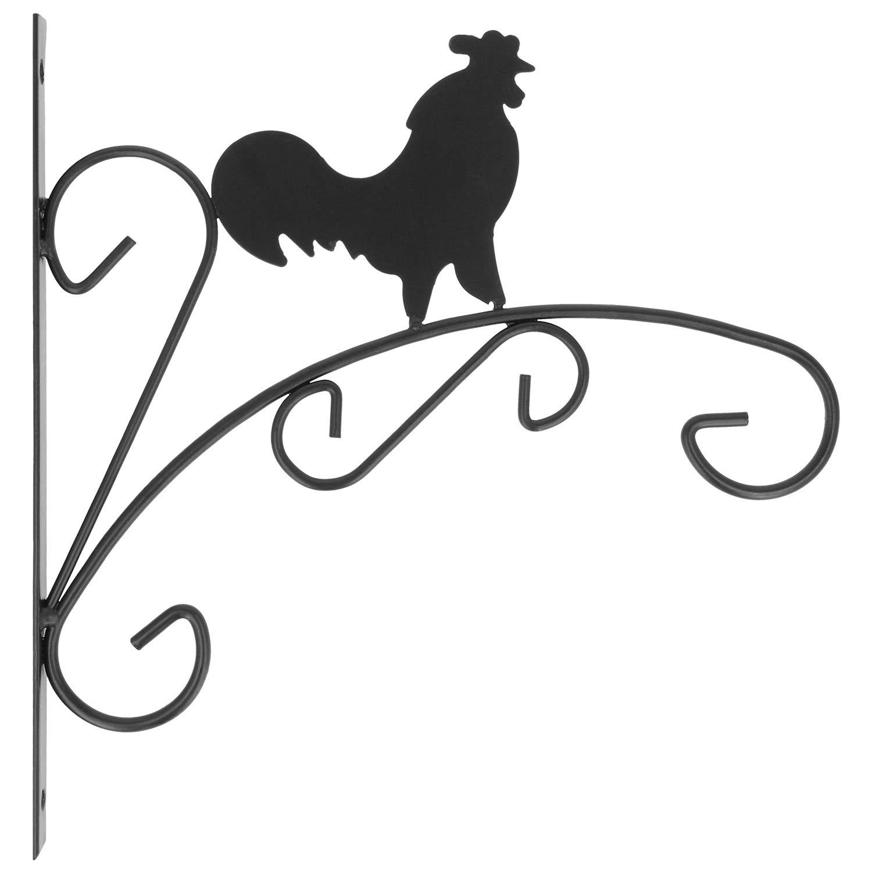 """2 Wand-Dekorationen /""""Hahn/"""" pulverbeschichtete Stahl-Halterung für Blumenampel"""