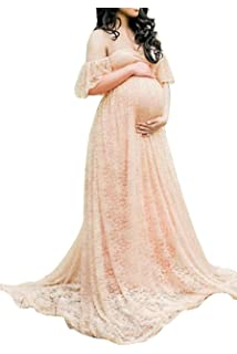 Meenew Womens Maxi Photography Gown Off Shoulder Ruffle Lace Maternity Dress