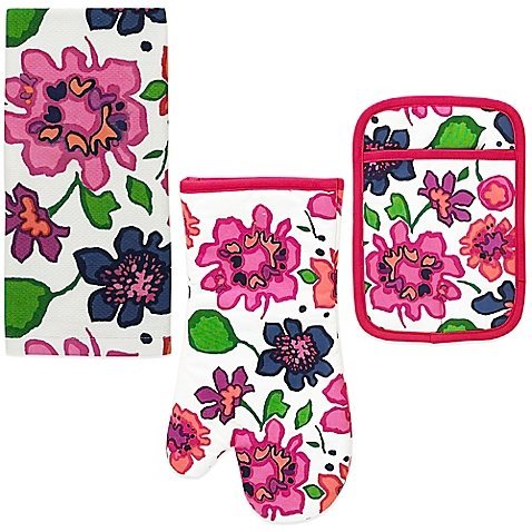Kate Spade New York 3pc Kitchen Set - Oven Mitt, Pot Holder and Kitchen Towel (Festive Floral) ()