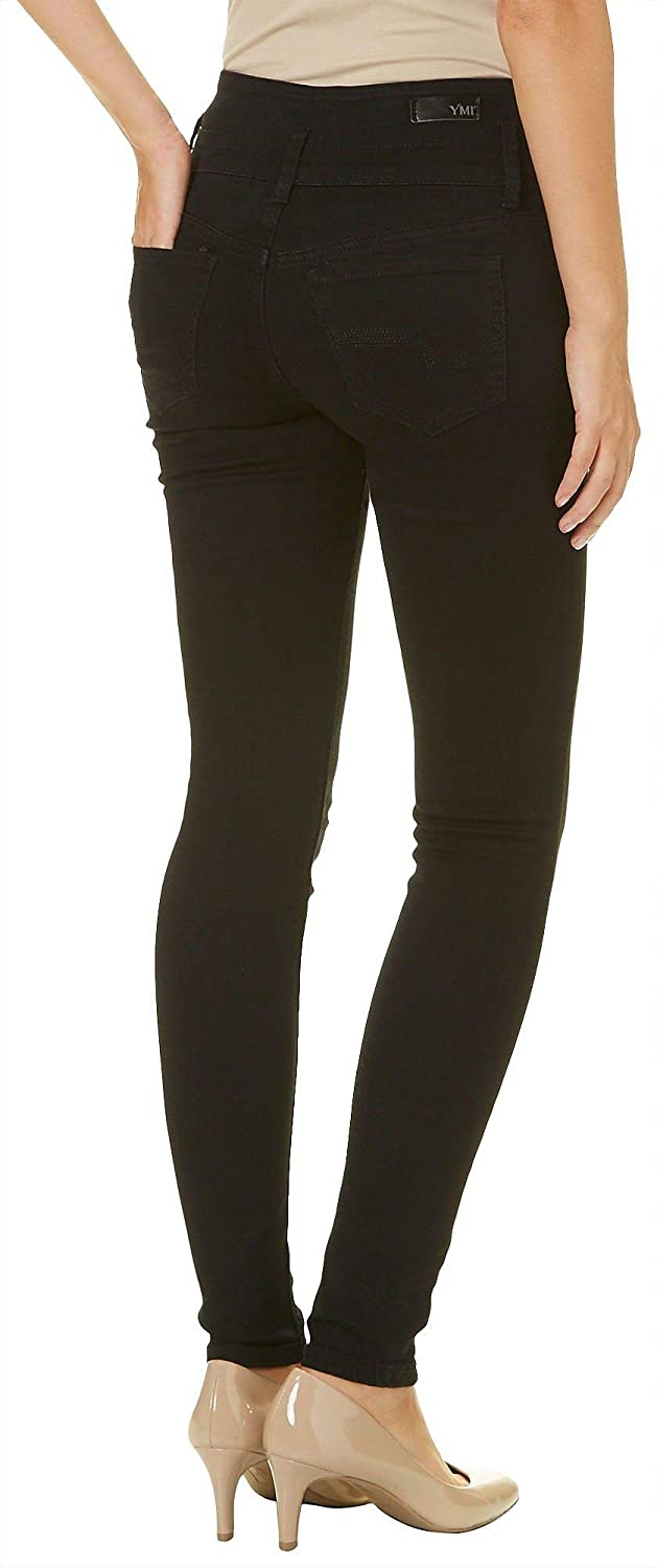 759d02f25f Amazon.com: YMI High-Waist 3-Button Skinny Luxe Jeans, Black: Clothing