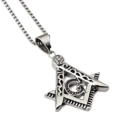 Amazon.com  EMOONLAND Stainless Steel Crystal Free Mason Masonic ... 1ed556a5b80f
