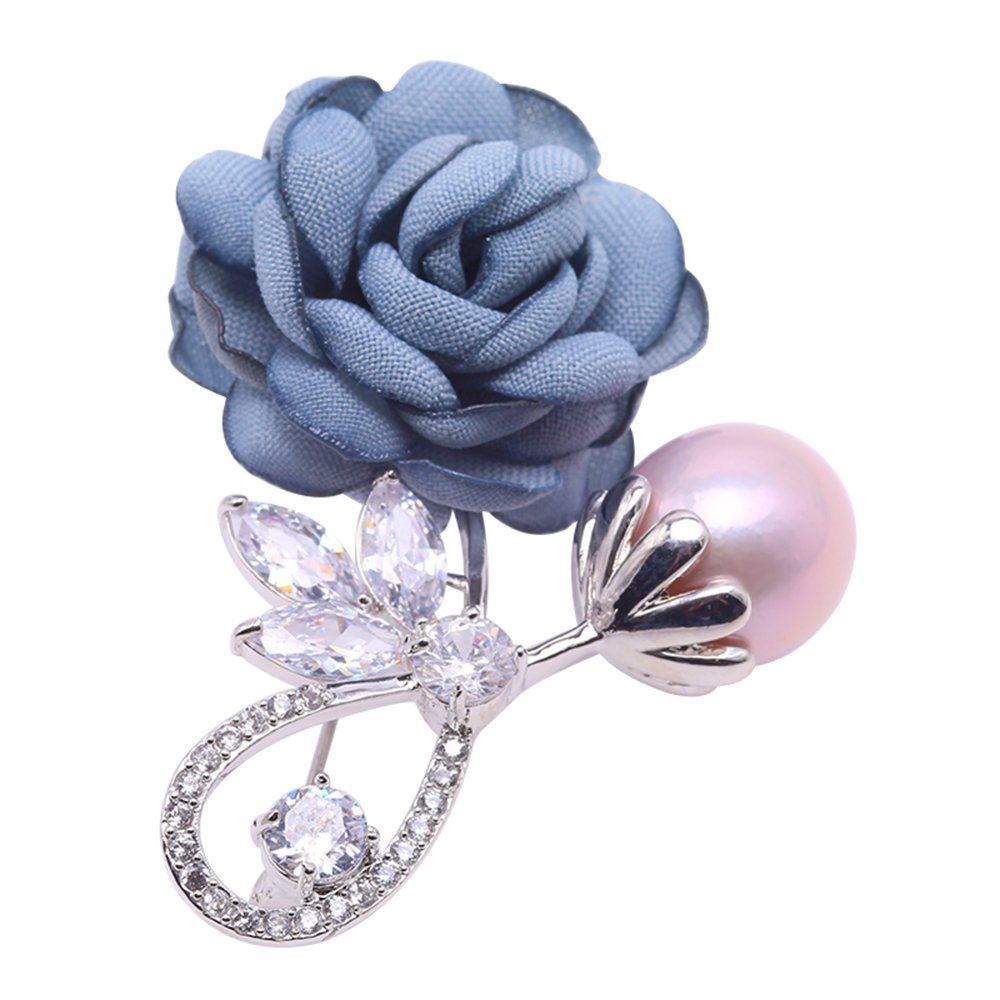 JYX Rose-style Brooch Round Lavender Freshwater Pearl Brooch Pin