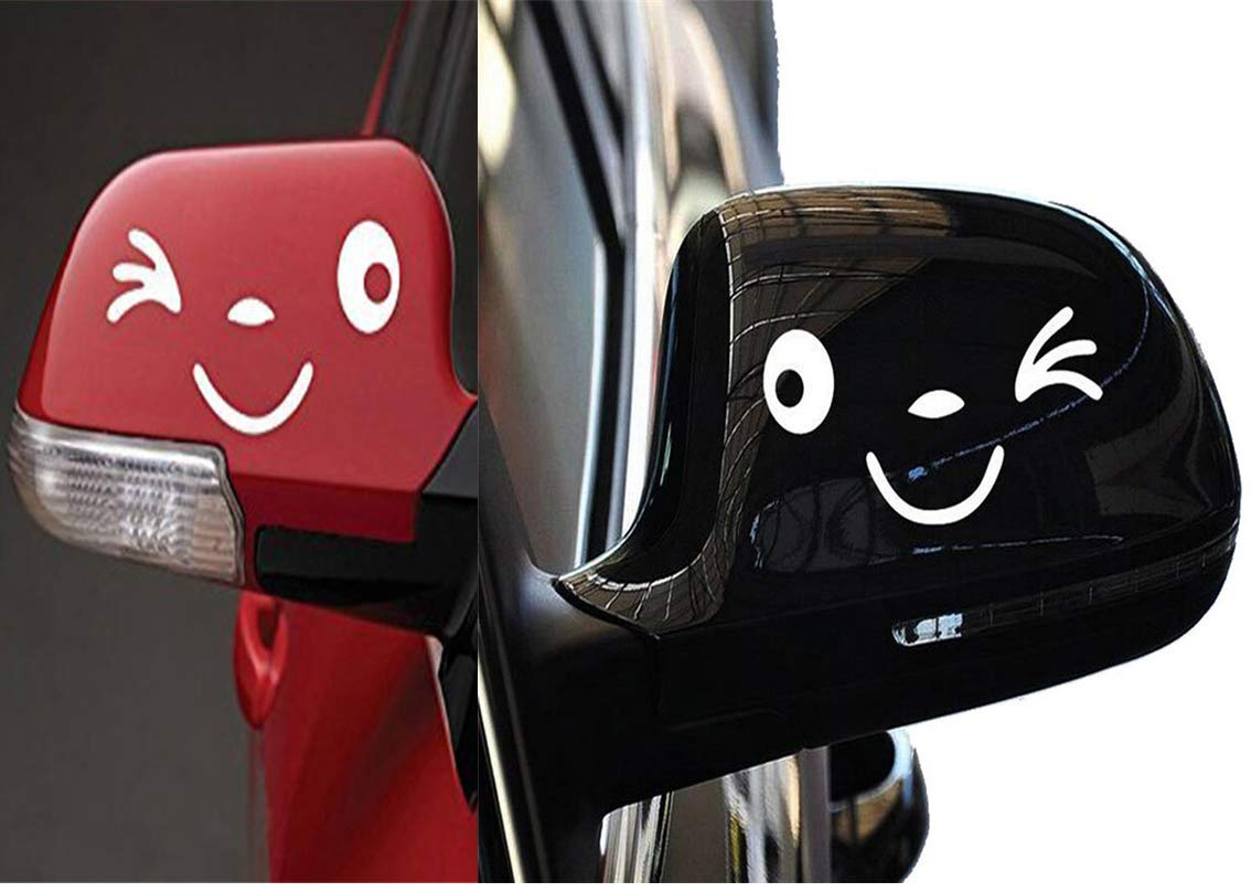 Yonger 2 X Cute Smile Face 3D Decal Sticker for Auto Car Side Mirror L+R Rearview White by Yonger (Image #8)