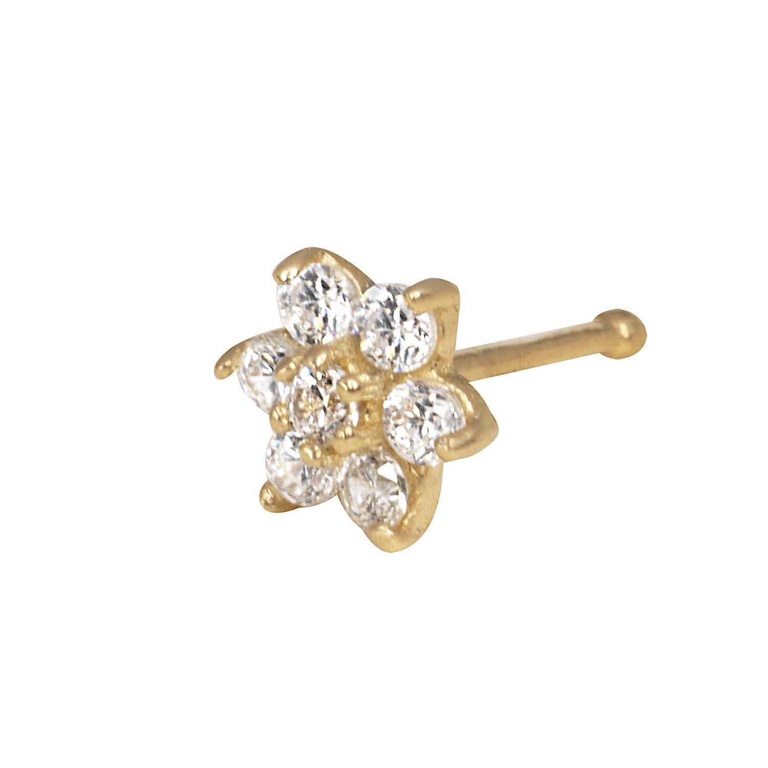 JewelryWeb Solid 14K Yellow or White Gold 4-mm 20 Gauge Cubic Zirconia Flower Nose Stud (Yellow-Gold) by JewelryWeb
