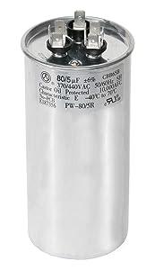 PowerWell 80+5 uf MFD 370 or 440 Volt Dual Run Round Capacitor TP-CAP-80/5/440R Condenser Straight Cool/Heat Pump Air Conditioner
