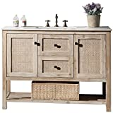 Legion Furniture WH5148 Solid Wood Sink Vanity With Marble Top and Without Faucet, 48'', White Wash