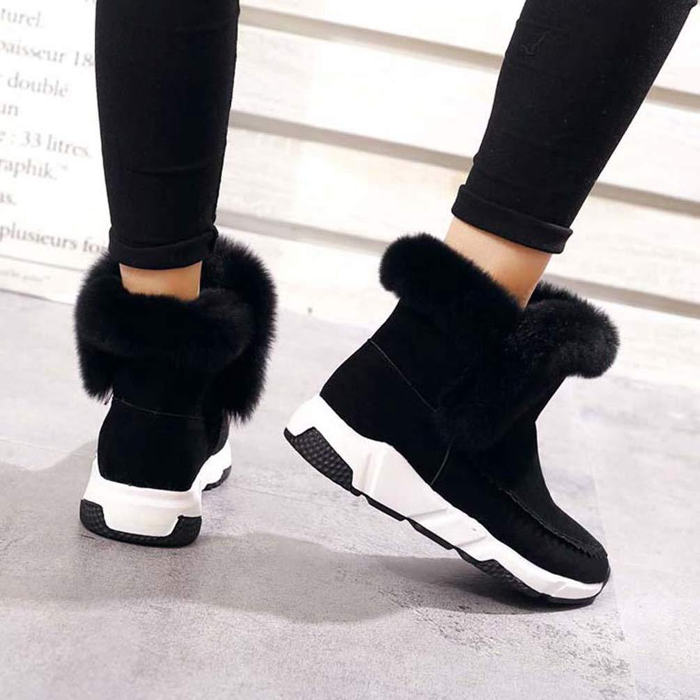 ZHRUI Frauen Winter Kunstpelz Schuhe Frau Schnee Schnee Schnee Warme Knöchel Plattform Keil Mode Schuhe (Farbe   Schwarz, Größe   3=35 EU) 16c04b