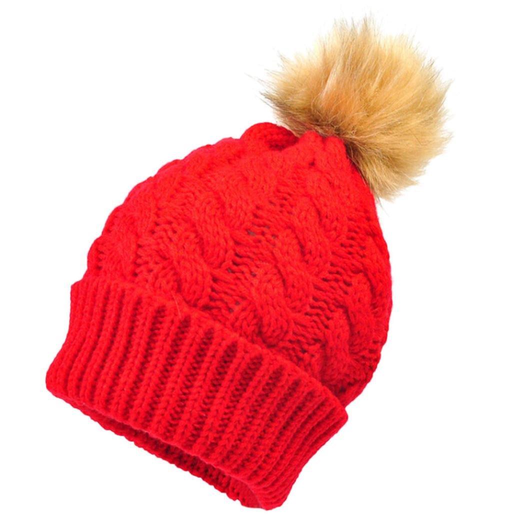 KEERADS Newborn Kids Knitted Wool Hemming Beanies Hat Caps Baby Hat