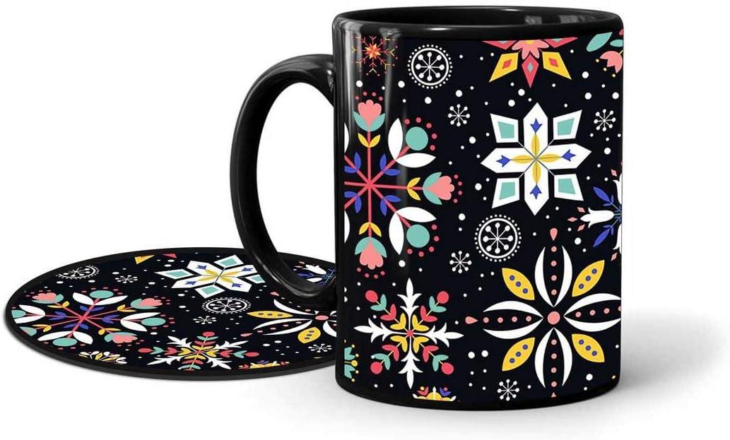 INKlusiv Doodle Classy Colorful Art Black Printed Mug Combo Set of 2 (1 330ml Mug & 1 Round Coaster) Microwave and Dishwasher Safe  Black Printed Coffee Mug  