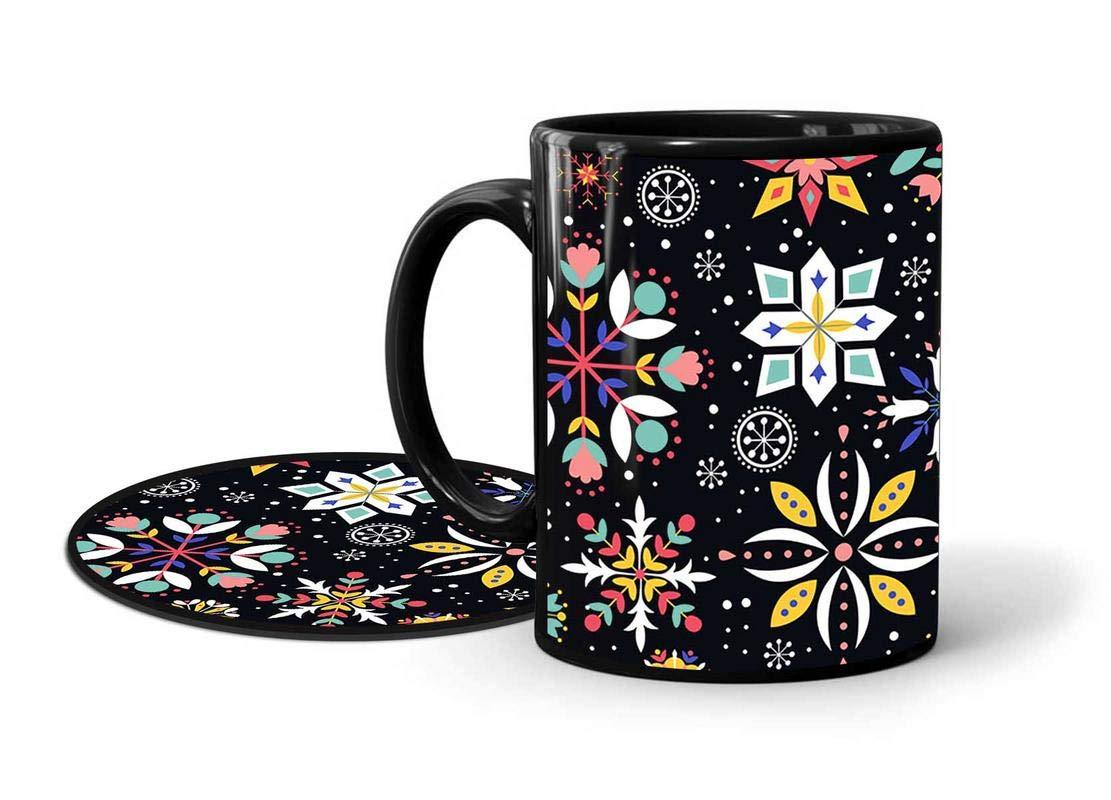 INKlusiv Doodle Classy Colorful Art Black Printed Mug Combo Set of 2 (1 330ml Mug & 1 Round Coaster) Microwave and Dishwasher Safe |Black Printed Coffee Mug |