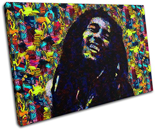 Bold Bloc Design – Bob Marley Pop Iconic Celebrities 90x60cm SINGLE Canvas Art Print Box Framed Picture Wall Hanging – Hand Made In The UK – Framed An…