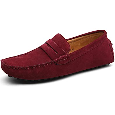 rismart Mens Classic Original Suede Leather Penny Loafers Comfort Driving Shoes Slip-on Flats Moccasin Slippers Burgundy 2088 US11.5