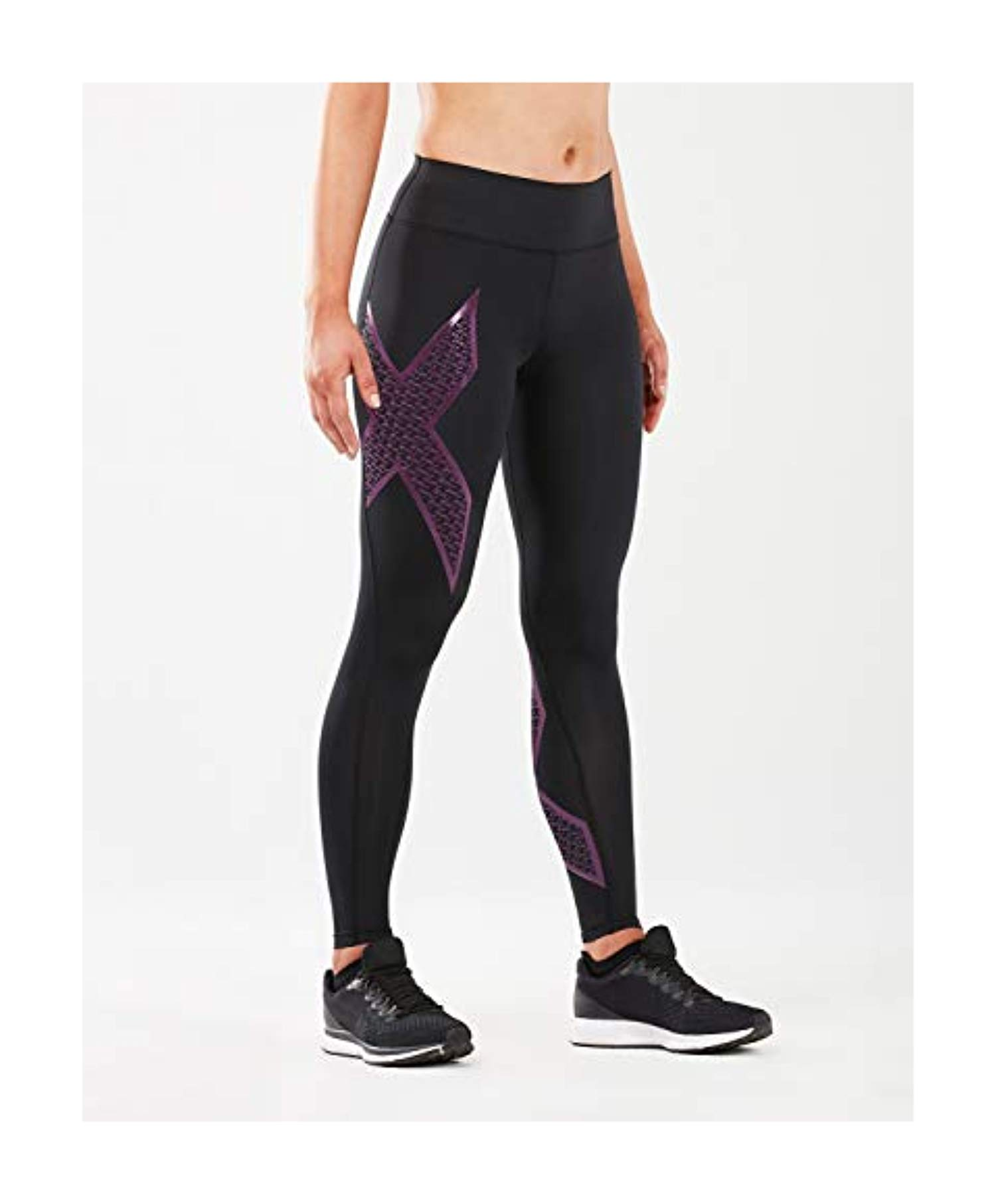 2XU Women's Bonded Mid-Rise Tights Black / 2XU Fill Grape Juice MT by 2XU (Image #1)