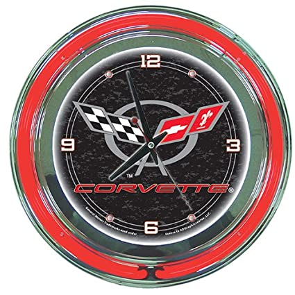 corvette logo neon clock