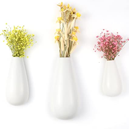 Amazon Newdreamworld 3pcspackage White Ceramic Wall Vase