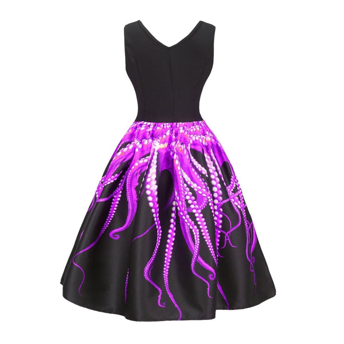 Pervobs Dress, Women Summer Sleeveless Vintage Printing Bodycon Casual Evening Party Prom Swing Pleated Dress (XXL, Purple)