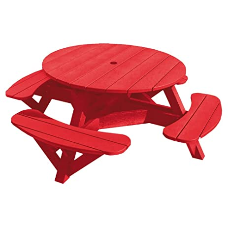Attirant 51u0026quot; Round Picnic Table, Recycled Plastic, Red