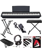 Yamaha P-125B 88-Key Weighted Action (GHS) Digital Piano (Black) Bundle with Knox Double X Stand, Knox Wide Bench, Sustain Pedal, Dust Cover Headphones and FastTrack Book and DVD