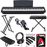 Yamaha P-125B 88-Key Weighted Action (GHS) Digital Piano (Black) Bundle with Knox Double X Stand Knox Wide Bench Sustain Pedal Dust Cover Headphones and FastTrack Book and DVD